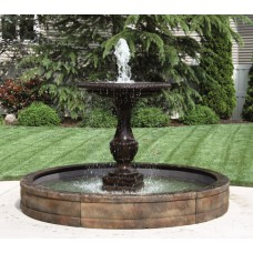 One Tier Savona Fountain with Surround and 8ft Fibreglass Pool